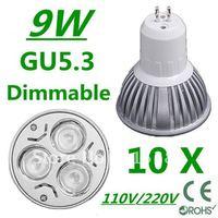 10pcs/lot CREE Dimmable High power GU5.3 3x3W 9W 110V/220V led Light Lamp Downlight led bulb spotlight Free shipping