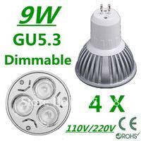 4pcs/lot CREE Dimmable High power GU5.3 3x3W 9W 110V/220V led Light Lamp Downlight led bulb spotlight Free shipping