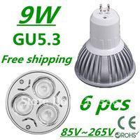 6pcs/lot CREE High power GU5.3 3x3W 9W 85V~265V led Light Lamp Downlight led bulb spotlight Free shipping