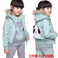2012 female child autumn and winter raccoon fur long sleeve length pants sports casual three pieces set