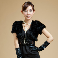Free shipping  women's rabbit fur knitted fur small cape fur vest