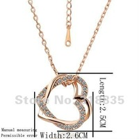 KN007 Free shipping 18K GP Necklace pendant Austria crystal fashion jewelry Necklace 18K white/gold/Rose Plate hsja qjqa zaza