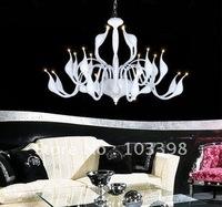 items gift 110v 220v power 9 head g4 12v 20w swan lamp chandelier lighting for living room parlor iron white color free shipping