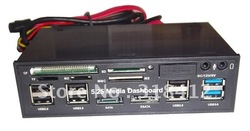 "Free shipping 5.25"" COMBO Media Dashboard Internal all in one card reader with USB3.0 HUB ESATA ide 1394 port(China (Mainland))"
