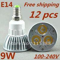 12pcs/lot Free DHL and FEDEX express High power E14 3x3W 9W 100V-240Vled Light Lamp Downlight led bulb spotlight
