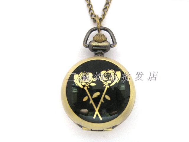 Fashion vintage gold rose enamel pocket watch necklace rahb869(China (Mainland))