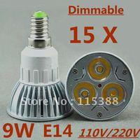15pcs/lot Free DHL and FEDEX express Dimmable High power E14 3x3W 9W 110V/220V led Light Lamp Downlight led bulb spotlight
