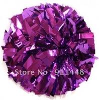 "mini order 10 pieces cheerleader pom pom dual-head baton 6"" * 3/4"" professional poms metallic purple mini order 10 pieces"