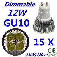 15pcs Free DHL and FEDEX express CREE Dimmable LED High power GU10 4x3W 12W led Light led Lamp led Downlight led bulb spotlight