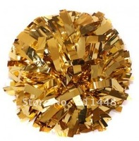 "mini order 10 pieces cheerleader pom pom dual-head baton 6"" * 3/4"" professional poms metallic gold mini order 10 pieces"