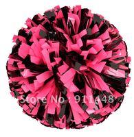 "mini order 10 pieces cheerleader pom pom dual-head baton 6"" * 3/4"" professional poms plastic pink black mini order 10 pieces"