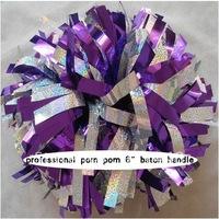 "cheerleader pom pom dual-head baton 6"" * 3/4"" professional poms holographic silver metallic purple  mini order 10 pieces"