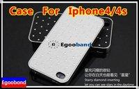 Чехол для для мобильных телефонов NEW! Cheapest Silver Luxury Chrom Hollow Cooling Effect Hard Skin Case Cover For iPhone 4G 4S