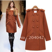 2012 New women's large faux fur collar medium-long single breasted without belt cotton overcoat outerwear deeply blue color