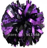 "cheerleader pom pom dual-head baton 6"" * 3/4"" professional poms metallic purple and black mini order 10 pieces"