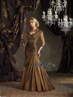HL-MB0136 3/4 Sleeves Lace Appliqued Tulle Bolero Jacket Sweetheart taffeta Golden Mother of the Bride Dresses plus size