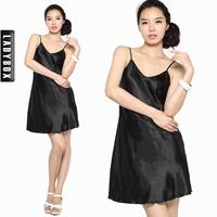 free shipping V-Neck faux silk satin suspender skirt slip skirt nightgown