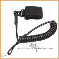 Free shipping black Adjustable Tactical Pistol Hand Gun Secure Spring Lanyard Sling with Belt Velcro Outdoor Combat Gear