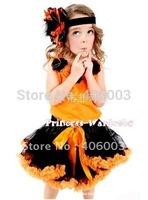 free shippping 5pcs/lot orange petti baby gils dress