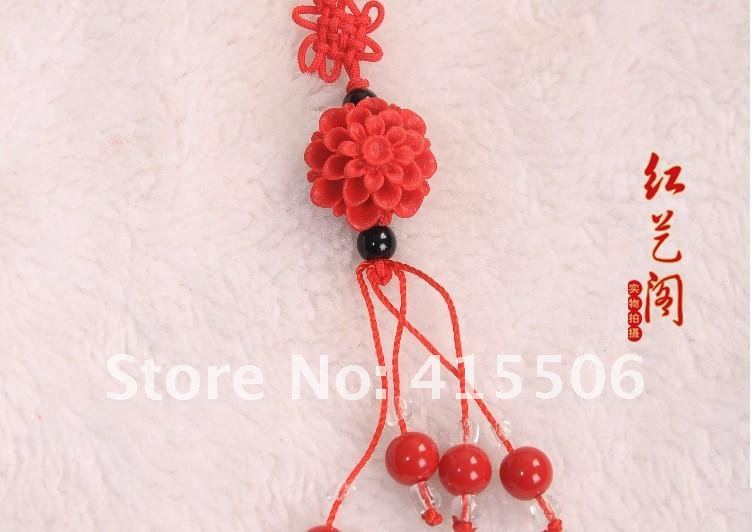 Wholesale Free shipping Red National style cell phone chain / vermillion shell carvings/Chinese knot Fashion Jewelry 50pcs/lot(China (Mainland))