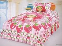 Shortcake Strawberry Single Bed Girl Cartoon Duvet Cover 3pcs set printed Children Bedding Set Christmas Gifts