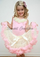 EMS free shipping girl's Pettiskirt,cute skirt,girl's dance wear,ivory with pink,the bow is ivory,only the skirt,{no top},6pcs