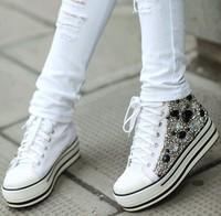 2014 paillette rivet rhinestone diamond handmade high-heeled platform canvas shoes platform shoes female shoes