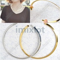 2012 New Necklace Jewelry Gold & Silver Fashion Metal Texture Collar Necklace Free Ship 5pcs U Choose