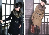 Free shipping Fur lining Long women's coat rabbit hair lining Fashion ladies' dust coat winter overcoat outerwear