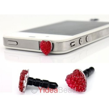 Free Shipping 4pcs Crystal Bow Ribbon Heart Anti Dust Ear Cap Plug For Phone 261354