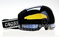 Snowmobile Motorcycle Snow Ski Goggles Dark Brown Double Lens Anti-Fog Eyewear 2256