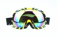 Black with Yellow coloured Lens Motorcycle Ski Snowboard Goggles NEW