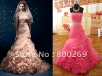 2013 Stylish Organza Mermaid Chapel Train Ruffles Crystal Bridal Gown/Wedding Dresses SL-0205