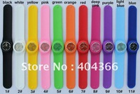 100pcs/lot jelly silicone watch slap watches adult size snap watch 13 colors stock with opp bag packaging