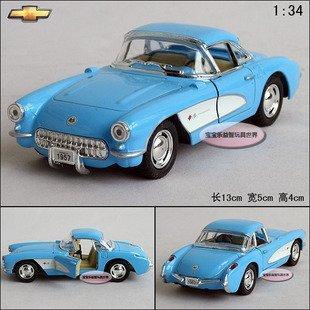 New 1:34 Chevrolet CORVETTE 1957 Alloy Diecast Model Car Toy Collection Blue B395