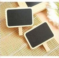 Free shipping 4.5*6.5cm 50pcs/lot Rectangle, heart, clouds, Mickey Wooden small blackboard clip/bookmark/message board creative