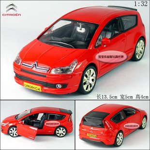 New Citroen C4 1:32 Alloy Diecast Model Car With Sound and Light Red B194b