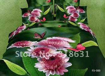 Flying butterfly around chrysanthemum flower green bedding duvet doona cover set 4pc Alternative comforter full oil painting