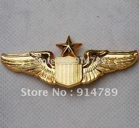 USAF U.S. AIR FORCE SENIOR PILOT METAL WING BADGE INSIGNIA  GOLD-32212
