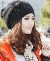 Free Shipping 2012 New Women Winter Fashion Rabbit Fur Wool Knitted Cap Berets Floral Hat 3 Colors