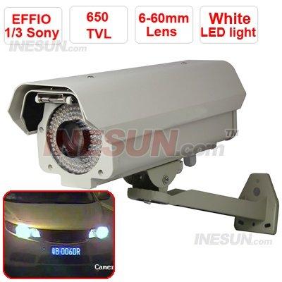 Profissão CCTV 650TVL Effio 6-60mm Lens 144 Leds OSD Car número da placa de captura de distância da câmera IR 60m(China (Mainland))