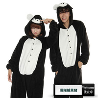 100% cotton cartoon animal one piece sleepwear black pig lovers table at home service summer
