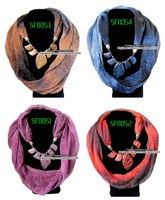 12pcs/lot, Chiffon Women New Arrival Hotsale Quality Trendy Jewelry Stone Pendant Scarf, Free Shipping