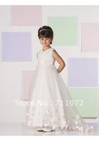 2013 New Arrival A Line Princess Flower Girl Dresses Organza Applique Handmade Flowers