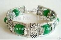 Tibetan Silver Jewelry Handmade green jade Bracelet