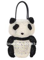 2012 Fashion ladies' shoulder bags / trend day clutches, Cute crystal diamond panda handbag for Christmas gifts free shipping