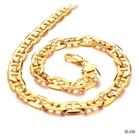 "Men's Gold chains 18K yellow gold GP necklace Classic thick chain link 20"" length 9mm width,fashion Jewelry wedding gift"