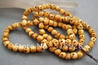 Tibetan Buddhist 108 Ox Bone Skull Prayer Beads Mala Necklace