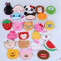 50 pcs/lot Coins purse Zipper cartoon purse Women key case Plush cellphone bags 24 styles