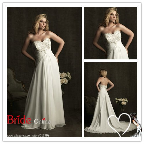 Glamorous Sweetheart neckline Strapless Beaded Chiffon Plus Size Bridal Wedding Dress W295 N08(China (Mainland))